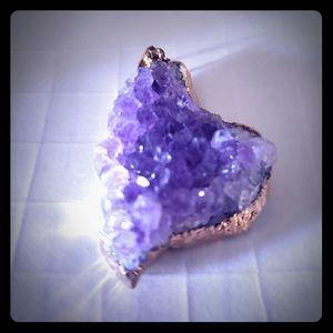 Amethyst Crystal Druzy Quartz Geode Pendant NEW!